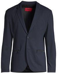 HUGO Slim-fit Zip-pocket Suit Jacket - Blue