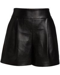 Susana Monaco Faux Leather Pleated Shorts - Black