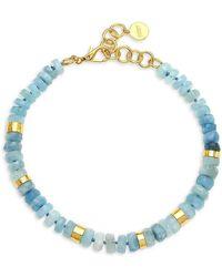 Nest 22k Goldplated & Aquamarine Short Beaded Choker Necklace - Blue
