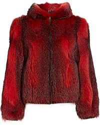 Saks Fifth Avenue Fox Fur Hooded Jacket - Red