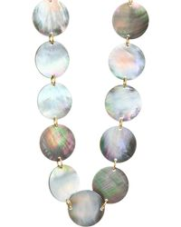 Nest - Long Grey Mother-of-pearl Disc Necklace - Lyst