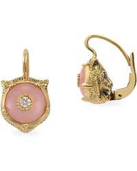 Gucci - Feline Head Pink Opal & Diamond Drop Earrings - Lyst