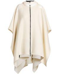 Moncler Nylon Hooded Wool Knit Cape - White