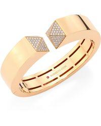 Roberto Coin - Prive Pyramid Pave Diamond & 18k Rose Gold Bangle - Lyst