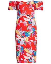 MILLY Cara Bouquet Floral Off-the-shoulder Faille Dress - Red