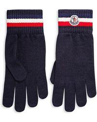 Moncler Logo Virgin Wool Knit Gloves - Blue