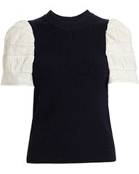 Sea - Audrey Embroidered Sleeve Sweater - Lyst