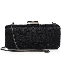 Saks Fifth Avenue - Long Rectangular Jet Crystal Clutch - Lyst