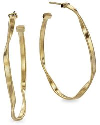 "Marco Bicego Marrakech 18k Yellow Gold Twisted Hoop Earrings/1.5"" - Metallic"