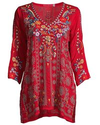 Johnny Was Multicolor Floral-embroidered Tunic