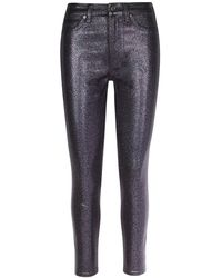 7 For All Mankind Sparkle Coated High-rise Ankle Skinny Jeans - Multicolor