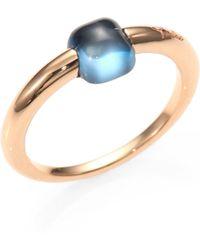 Pomellato - M'ama Non M'ama Blue Topaz & 18k Rose Gold Square Cabochon Ring - Lyst