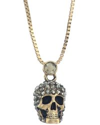 Alexander McQueen - Crystal Skull Goldtone Pendant Necklace - Lyst