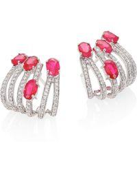 Hueb - Rainbow Diamond, Ruby & 18k White Gold Ear Cuffs - Lyst