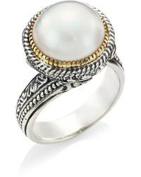 Konstantino Thalia 18k Yellow Gold, Sterling Silver & Cultured Pearl Ring - White