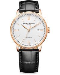Baume & Mercier Classima 10597 18k Rose Gold, Titanium & Alligator Leather Strap Watch - Black