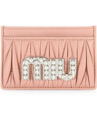 Miu Miu - Embellished Leather Card Case - Lyst