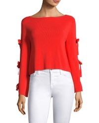 MILLY Split Sleeve Pullover - Red