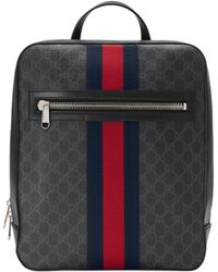 Gucci - Men s GG Supreme Web Backpack - Black Grey Blue Red - Lyst 6bc5966e79