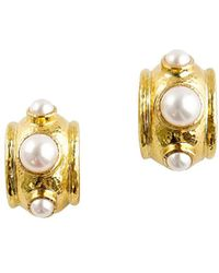 Elizabeth Locke 19k Yellow Gold & 5-8mm Freshwater Pearl Hoop Earrings - Metallic