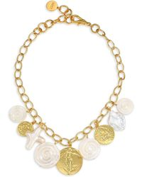 Nest - White Baroque Mother-of-pearl & 22k Goldplated Short Coin Charm Necklace - Gold - Lyst