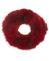 Saks Fifth Avenue Sable Fur Knit Headband - Red