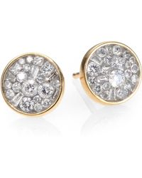 Plevé - Ice Diamond & 18k Yellow Gold Stud Earrings - Lyst