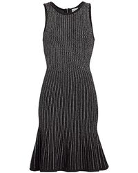 MILLY Tweed Flounce Hem Sheath Dress - Black