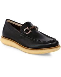 Ferragamo - Carmine Crepe Leather Loafers - Lyst