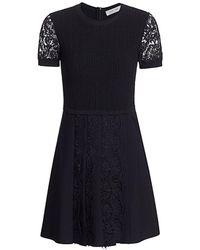 Valentino Short-sleeve Lace Fit-&-flare Dress - Black