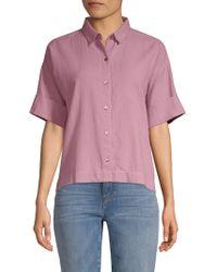 Eileen Fisher - Short Sleeve Collared Shirt - Lyst