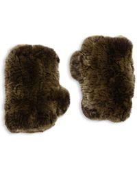 Surell Rabbit Fur Texting Gloves - Brown