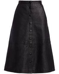 REMAIN Birger Christensen Bellis Midi Leather Skirt - Black