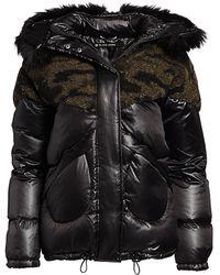 BLANC NOIR Camo Faux Shearling & Faux Fur Puffer Coat - Black