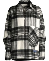 we11done Check Print Wool Shirt - Gray