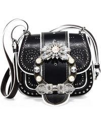 Miu Miu - Dahlia Jewel-buckle Studded Leather Shoulder Bag - Lyst d781caa9bb96d
