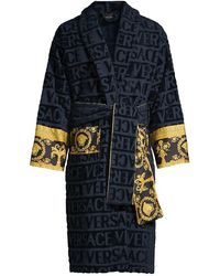 Versace Logo Toweling Baroque Bathrobe - Blue