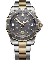 Victorinox Maverick Large Two-tone Gray Dial Stainless Steel & Bracelet Strap Watch