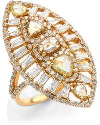 Bavna - Sunburst Diamond & 18k Rose Gold Ring - Lyst