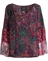 Johnny Was Toledo Tiered-sleeve Peasant Blouse - Multicolor