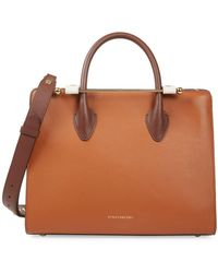 Strathberry Midi Bi-color Leather Tote - Brown