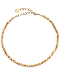 Nest 22k Hammered Goldplated Beaded Collar Necklace - Metallic