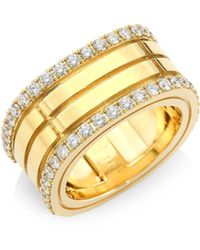Roberto Coin - Portofino Diamond & 18k Yellow Gold Double-row Band Ring - Lyst