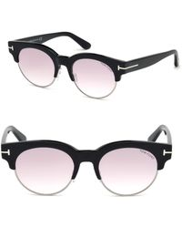 Tom Ford Henri 52mm Round Cat-eye Sunglasses - Black