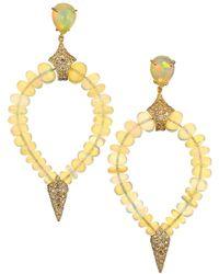 Etho Maria Misty 18k Yellow, Opal & Brown Diamond Beaded Teardrop Earrings - Metallic