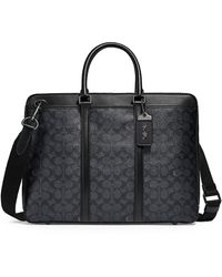 COACH Signature Metropolitan Slim Leather Briefcase - Black