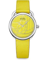Hermès - Arceau Lacquered Stainless Steel & Leather Strap Watch - Lyst