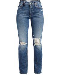 Mother The Trickster High-rise Crop Straight-leg Destructed Jeans - Blue