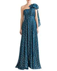 Shoshanna Caprina One-shoulder Silk-blend Gown - Blue
