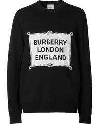 Burberry Rigging Intarsia Merino Wool Sweater - Black